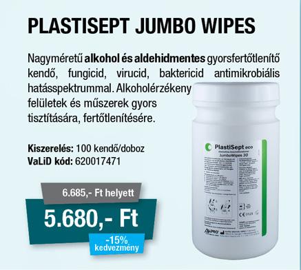 Plastisept Jumbo wipes dobozos